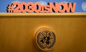 A detail on the podium at the UN general assembly in New York, alluding to the 2030 deadline for the sustainable development agenda