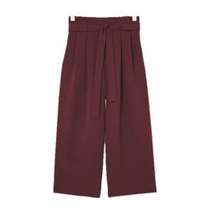 burgundy wide legged trousers