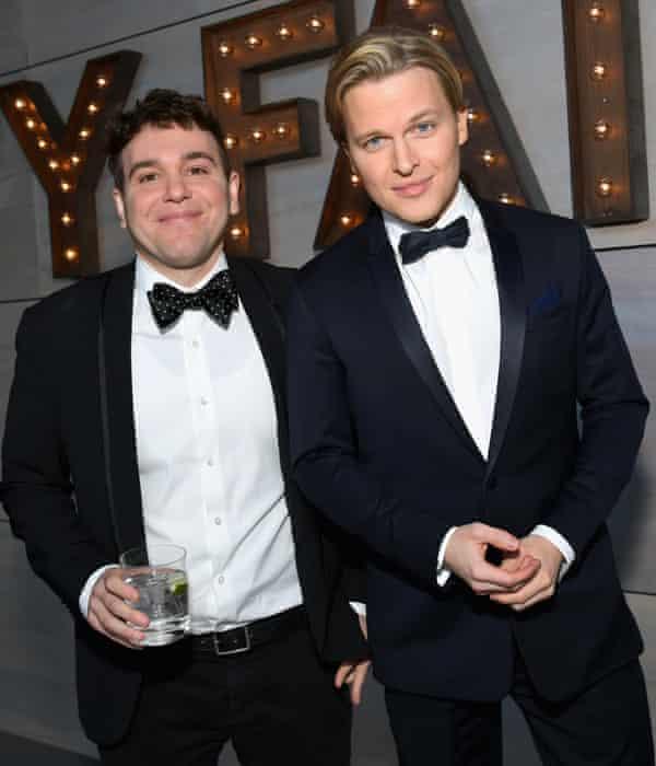 Jon Lovett (L) and Ronan Farrow at the 2019 Vanity Fair Oscar Party, February 2019, in Beverly Hills, California.