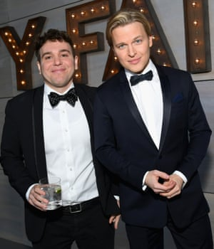 Jon Lovett (L) and Ronan Farrow at the 2019 Vanity Fair Oscar Party, February 2019, in Beverly Hills, California.