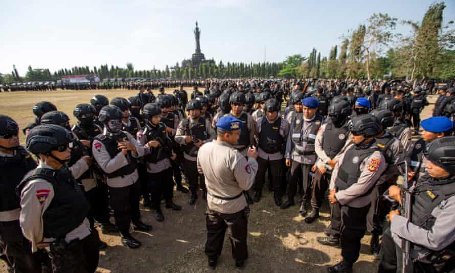 Indonesian police preparing for the IMF and World Bank's annual meeting on Bali.