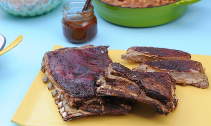 Alternative Easter lunch: barbecue lamb ribs, smoky beans