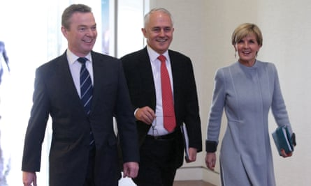 Malcolm Turnbull, Julie Bishop and  Christopher Pyne arrive for the first  Liberal party room meeting in Parliament House