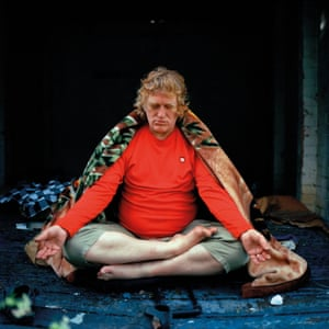 Justin meditating at 'the den', a disused garage near his art class in Roehampton.