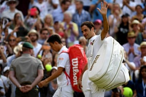 Roger Federer acknowledges the crowd following victory.