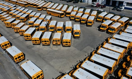 School buses sit in a lot in San Francisco on Tuesday.