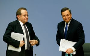 European Central Bank President Draghi and Vice President Constancio leaving today's news conference at the ECB headquarters in Frankfurt.