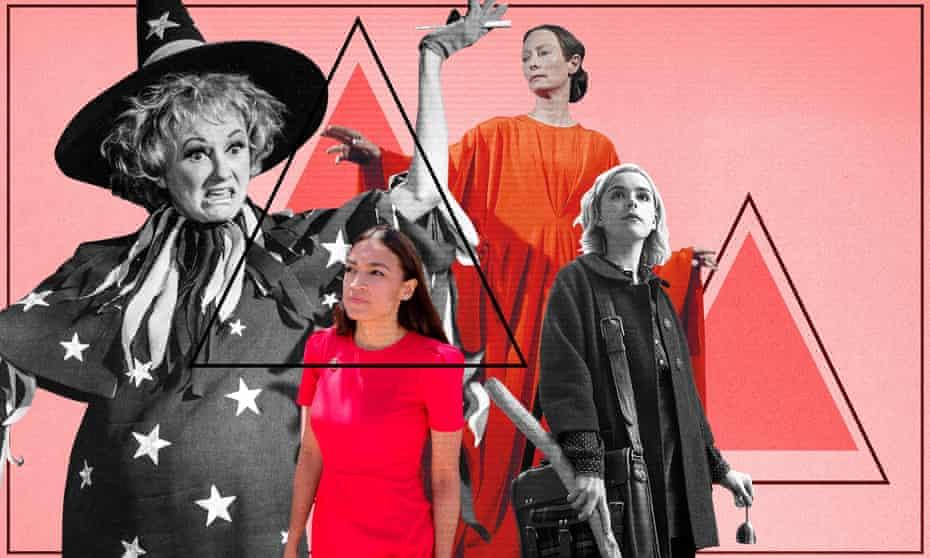 Season of the witch: Alexandria Ocasio-Cortez, Tilda Swinton in Suspiria and Kiernan Shipka in Chilling Adventures of Sabrina.Witches Final 2