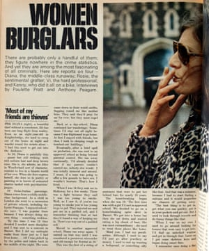 An inside page of Observer Magazine with the headline 'Women burglars', text and a photo of a woman in profile, wearing dark glasses and smoking a cigarette.