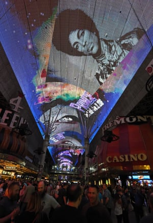 Las Vegas, USThe Fremont Street Experience pays tribute to recording artist Prince with a photo retrospective on the attraction's screen while playing his music.