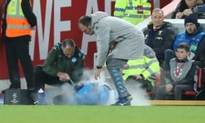 Liverpool v Napoli, UEFA Champions League, Group E, Football, Anfield, UK - 27 Nov 2019Editorial Use Only Mandatory Credit: Photo by Magi Haroun/REX/Shutterstock (10486408a) Giovanni Di Lorenzo of Napoli injured on sideline and sprayed by physio.