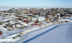 An aerial view of western Nome.