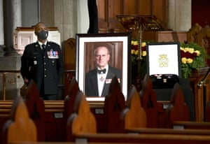 A portrait of Prince Philip, a framed drawing of the Duke's cypher and three medals awarded to the Duke at Christ Church Cathedral, Ottawa, Canada.
