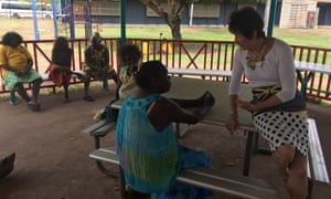 Residents in the Arnhem Land community of Groote Eylandt speak to the Northern Territory royal co-commissioner Margaret White on Monday.