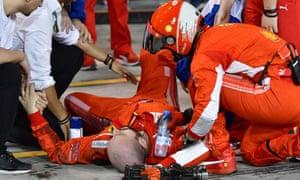 Ferrari mechanic receives medical attention