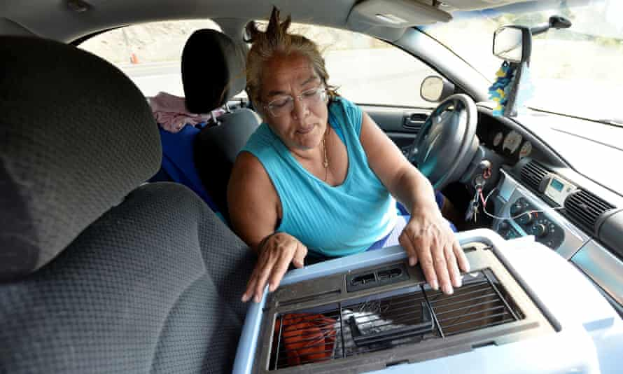Martha Van Dyke of Lytton sits in her car with her cat, Kona, after a wildfire raged through her town.