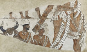 A wall painting from Zimri-Lim's palace known as 'The Ordinator of the Sacrifice' (c. 1780 BC). The large figure is the king, depicted presiding over a ritual sacrifice. Now in The Louvre.