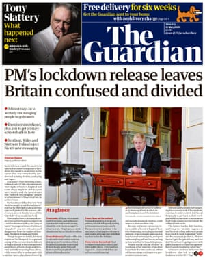 Guardian front page, Monday 11 May 2020