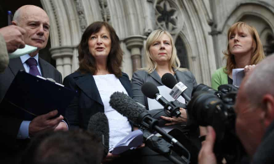 Shoesmith (second from left) outside the High Court in London after winning appeal against her sacking following the death of Baby P.