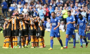 The Hull players celebrate after the final whistle.
