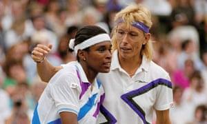 Navratilova with Zina Garrison, a surprise finalist in 1990.