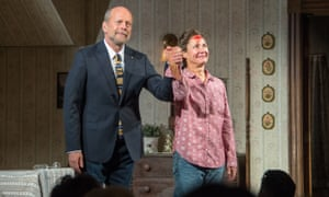 Bruce Willis and Laurie Metcalf take a curtain call for Misery. Willis uses an earpiece 'as a safety net'