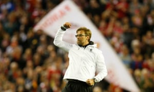 Juergen Klopp celebrates after the final whistle.