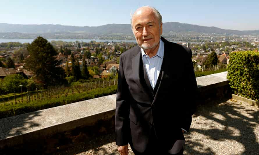 Banned from Fifa for six years ... Sepp Blatter on the terrace of Sonnenberg restaurant  in Zurich.