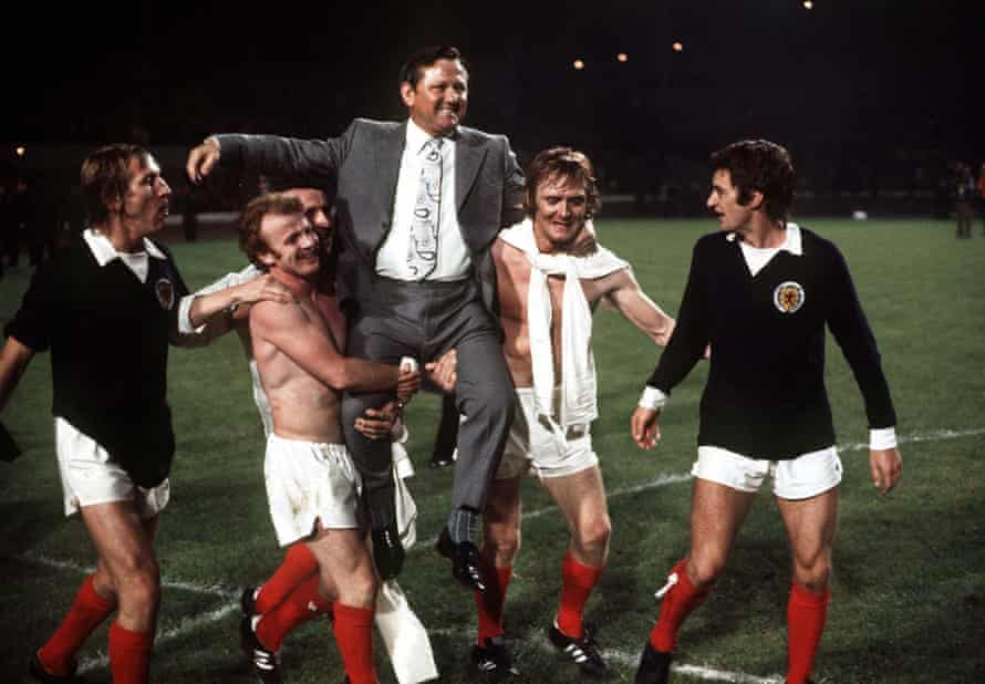Scotland's manager Wille Ormond is chaired off the field by his players Tommy Hutchison, Billy Bremner, Danny McGrain, David Hay and Willie Morgan