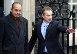 Blair gestures as he talks to Chirac in Downing Street in November 2003