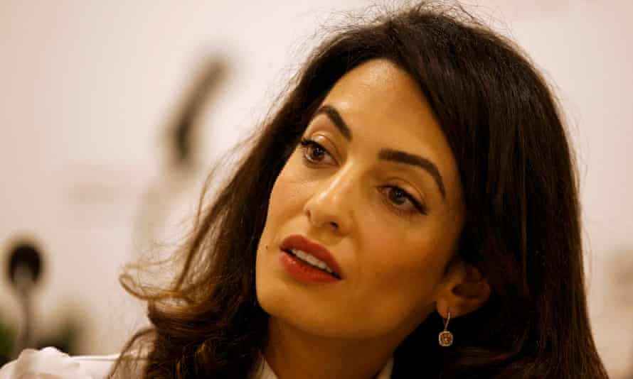 Amal Clooney during a news conference for Mohamed Nasheed