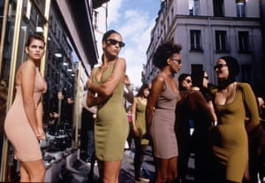 Alaia clothed almost all the supermodels of the eighties and nineties in his bodycon designs. See Cindy Crawford, on the far left here.