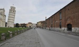 Empty streets in Pisa, Italy