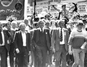 Arthur Scargill, Tony Benn and Peter Heathfield during the miners' march in Mansfield