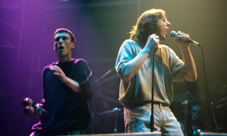 Ryder, right, with Bez' in 1990.