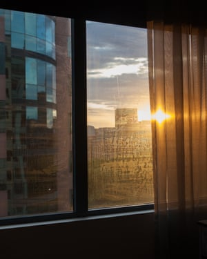 View of sunset from Sydney hotel window