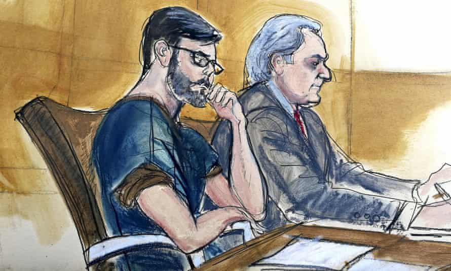 Martin Shkreli, left, is shown seated next to his lawyer Ben Brafman in federal court in New York in this courtroom sketch.