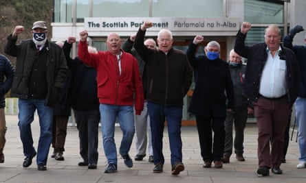Former miners outside the Scottish parliament in Edinburgh