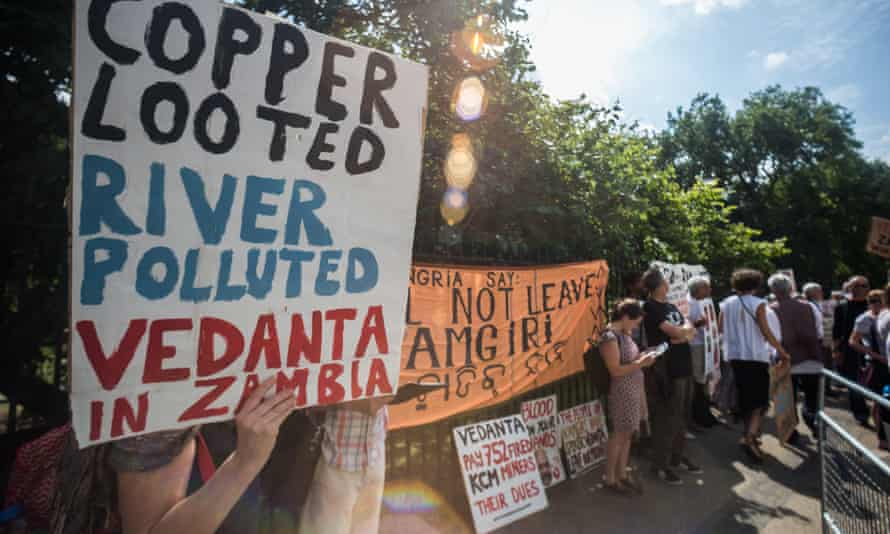 A protest outside the 2014 AGM of Vedanta Resources mining company, in London