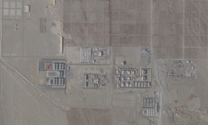 An aerial view of a 're-education' centre in Korla in Xinjiang. The US has called the facilities 'concentration camps'.