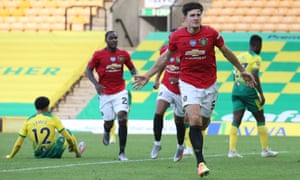 Harry Maguire celebrates scoring of Manchester United's second and decisive goal in their FA Cup quarter-final at Norwich