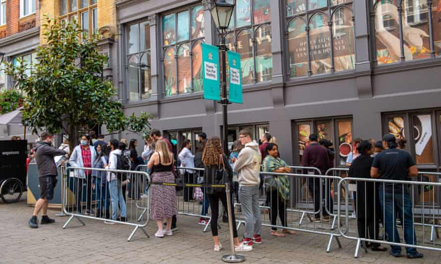A queue outside Wagamama in Windsor, Berkshire.