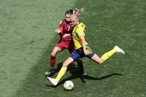 Fridolina Rolfo of Sweden scores her team's third goal.