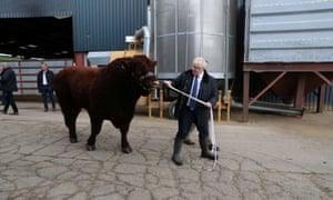 Boris Johnson at a farm in Banchory in Aberdeenshire.