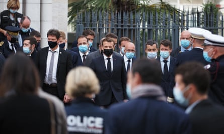 Emmanuel Macron, the French president, in Nice on Thursday