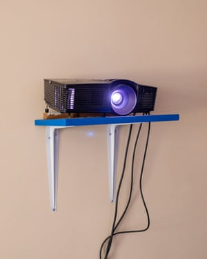 The projector on the shelf