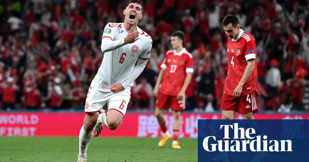 Denmark roar past Russia to set up Euro 2020 last-16 clash with Wales
