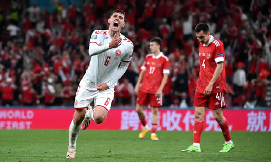 Andreas Christensen celebrates after he scored Denmark's third goal from distance.