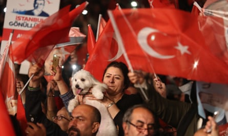 Supporters of Istanbul's mayor Ekrem Imamoglu at a protest against the rerun of the election.