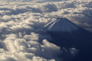 Mount Fuji, JapanJapan's highest peak at 3,776-meters tall (12,385 feet), is seen from an airplane window